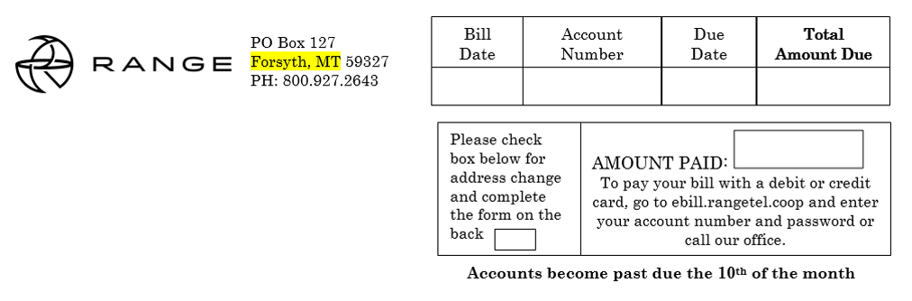 Example of billing statement